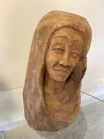 Hawaiian Carved Wooden Head Bust Original Art Sculpture Vintage Signed Maka V