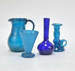 Collection de verrerie bleu Murano Italie 4 pieces