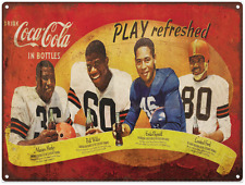 1950s Coca Cola Football Advertising Metal Reproduction Sign 9x12 60083