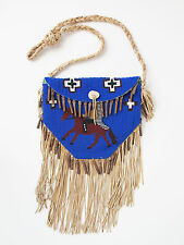 Vintage Native American Indian Beaded Bag Purse Horse Chief Rider
