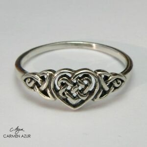 Solid 925 Sterling Silver Ring Celtic Heart Knot Size L1/2,N1/2,P1/2,Q  Gift Bag