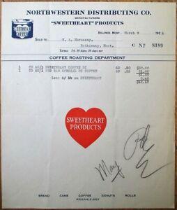 Billings, MT 1926 Color Letterhead: Sweetheart Coffee, Heart - Montana Mont