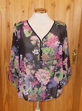 WALLIS black purple green pink brown floral chiffon 3/4 sleeve tunic top M 12-14