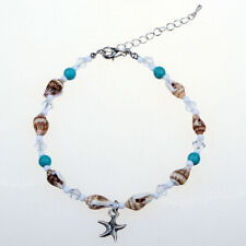 Shell Anklet Chain with Starfish Summer 1x Crystal Glass Beads Blue Stones Sea