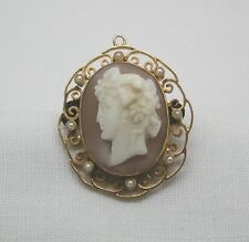 Mid Victorian 9ct Rose Gold & Pearl Cameo Brooch