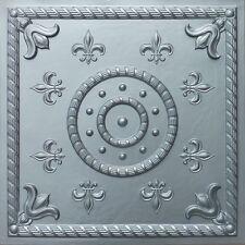 """Ceiling Tile """"Fleur de lis"""" Faux Tin Glue Up, Drop In, Suspended, Grid PVC  #27"""