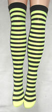 BLACK & NEON YELLOW OPAQUE STRIPE STRIPEY THI HI STOCKINGS PUNK SCENE RAVE CYBER