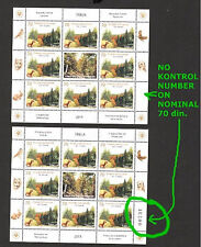 SERBIA-MNH- S/S-ERROR,WITHOUT CONTROL NUMBER ON NOMINAL 70 din-BIRDS-NATURE-2015