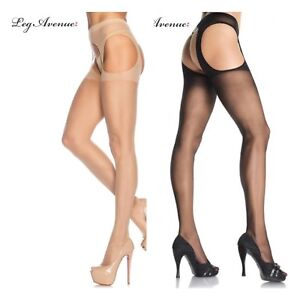 Leg Avenue 1901 SHEER SUSPENDER PANTYHOSE Nylon stockings Black Nude tan drag