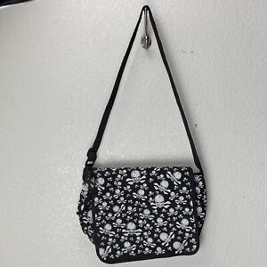 Canvas Messenger Bag Tote Skulls Crossbody Strap Black White 13x10x4 Flap Cover