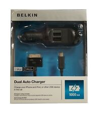 CARICABATTERIE 2 USB AUTO BELKIN CAVI 30 PIN  PER IPHONE 4 4S IPAD - MINI USB