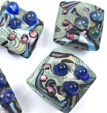 Lampwork Handmade Glass Blue Lace Square Beads (5)