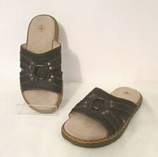 Dr Doc Martens Rhea Women's Slides Sandals Shoes Flats Dark Brown Leather sz 5 M