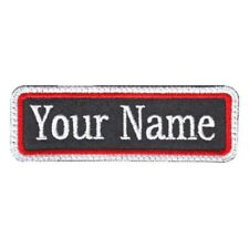 Rectangular 1 Line Custom Embroidered Biker SEW ON  Name Tag PATCH (WRW)