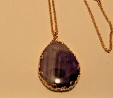 Necklace Pendant Genuine Gemstone Teardrop Amethyst Purple Long Chain NWT L551