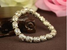 Unique design Tibet Tibetan silver Lucky Buddha head bracelet elastic Bangle