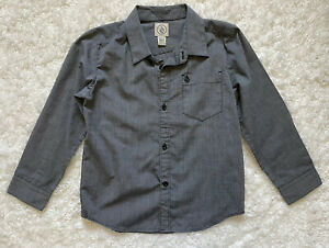 Volvom Boys Long Sleeve Button Up/ Down Shirt Sz XL 7 Dress Shirt Charcoal/Black