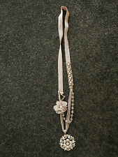 PETER LANG Nude Silk & Crystal Pendant NECKLACE with rosettes.