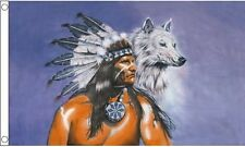 Indian With Wolf Flag (New) 5ft x3ft (150cm x 90cm) Decoration