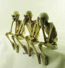 Three Wise Skeletons Bone Colour Gothic Figurine Shelf Sitting Ornament Figure