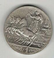1 LIRA  1910 QUADRIGA SPL originale  AG