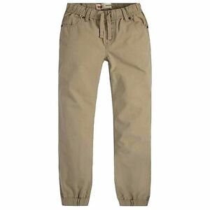 Levi's Boys Chino Jogger Drawstring Pants with Adjustable Waistband, Khaki, 10