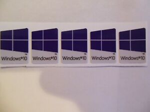 5 x Windows 10  Sticker Badge Logo Decal for laptop PC - HD Quality (blue dark)