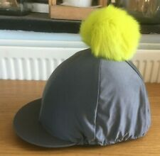 BRAND NEW * SHIRES * GREY Riding HAT Helmet COVER with Detachable YELLOW PomPom