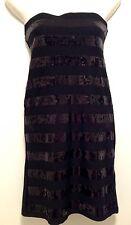 Women's ValleyGirl Sequin Striped Bodycon Little Black Mini Dress Small 8-10