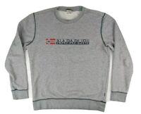 Napapijri Mens Crew Neck Logo Grey Jumper Sweatshirt Size Medium M