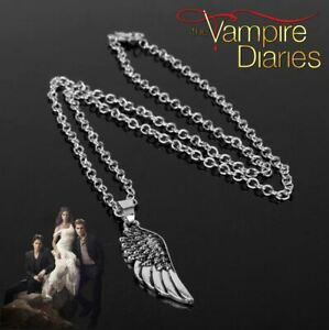"""""""The Vampire Diaries"""" Antique Silver, Angle Wing, Feather, Pendant & Chain Set"""