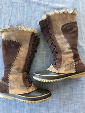 Sorel Size 9 Womens Cate the Great Boots Faux Fur Leather Suede Brown