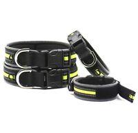 Hundehalsband Halsband Neon Gelb Schwarz Reflektierend Verstellbar XL Breit Groß