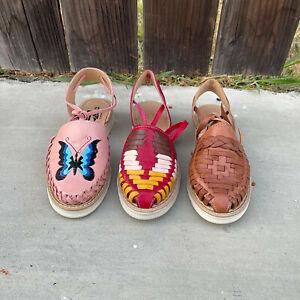 Women's Huarache Artesenal Mexicano Mexican sandals Multiple Designs Ankle Strap
