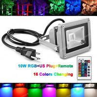 10W LED Flood Light RGB Outdoor Garden Landscape Lamp Remote Control USA Plug