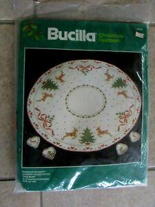 "Bucilla Christmas Tree Skirt Cross Stitch Kit 82390 Reindeer Roundup Large 42"""