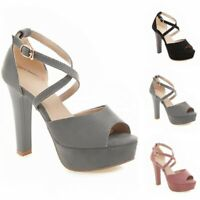 Womens High Heels Casual Cross Strap Platform Sandals Peep Toe Party Daily Shoes