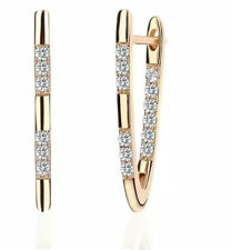 18K REAL GOLD FILLED LONG HOOP EARRINGS MADE WITH SWAROVSKI CRYSTALS RG53