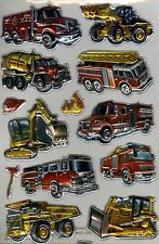 Pop up fire trucks and machinery foil 13 laser stickers.