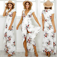 New Women Holiday Sleeveless Ladies Maxi Long Summer Print Beach Dress Size 6-14