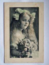 BAMBINA ROSE child Mignon old postcard AK vecchia cartolina