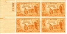 Vintage California Centennial  3 Cent  Stamp plate block