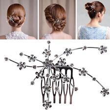 Wedding Bridal Bridesmaid Prom Silver Crystal Flower Hair Comb Tiara Beauty