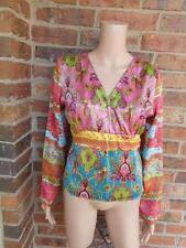 BOSTON PROPER Paisley Blouse Size 10 M 100% Silk Top Shirt Tie Back Women