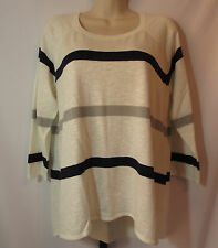 Gap Womens Size Medium Lightweight Thin White Gray Blue Striped Sweater