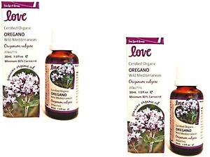 2 x 30ml LOVE OILS Organic Oregano Oil 60ml