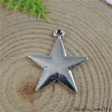 50813 Vintage Silver Alloy Five-pointed Stars Pendant Charms Findings Crafts 36x