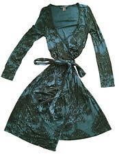 ORLA KIELY Silk Jersey Knit Wrap Dress Forest Green Dotted Tree Print Size 2