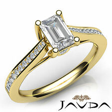 Emerald Cut Diamond Engagement GIA H SI1 18k Yellow Gold Channel Set Ring 1.03Ct
