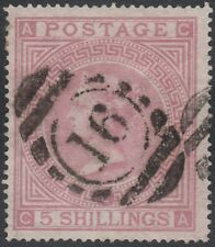 1867 SG127 5s PALE ROSE PLATE 2 FINE/VERY FINE USED RARE LONDON CANCEL (CA)